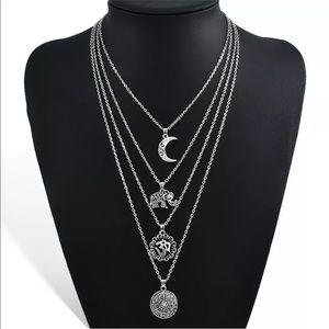 Jewelry - Boho Silver 4 Layer Necklace Moon Elephant Om